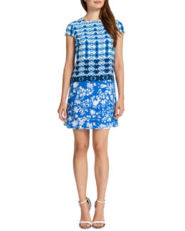 Cynthia Steffe Fallon Short-Sleeve Aztec & Floral-Print Dress