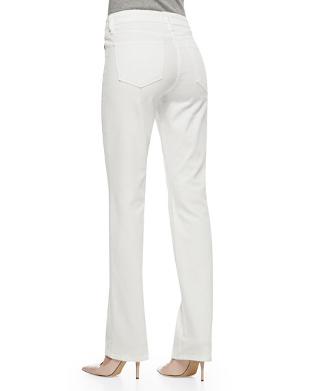 Faith Straight-Leg Jeans, Optic White
