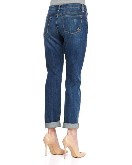 """""""Glory"""" Slim Boyfriend Cuffed & Distressed Jeans, Grand Avenue Blue"""