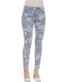 CJ by Cookie Johnson Wisdom Floral Pattern Skinny Ankle Jeans, Slate/White