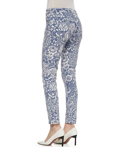 Wisdom Floral Pattern Skinny Ankle Jeans, Slate/White