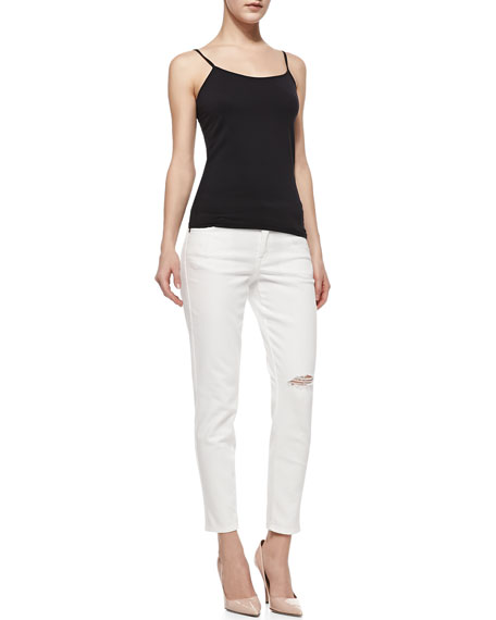 Wisdom Distressed Skinny Ankle Jeans, Optic White