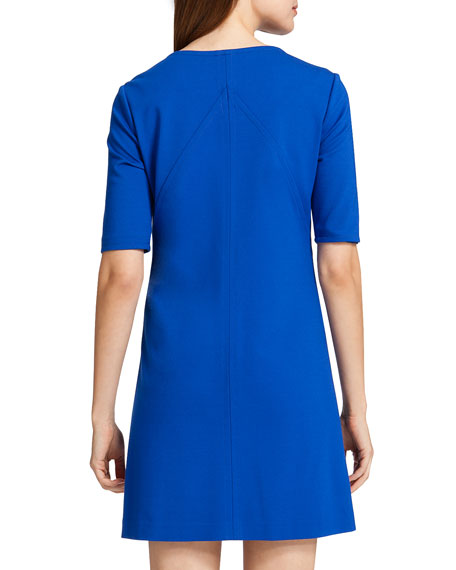 Nadya Half-Sleeve Shift Dress, Blue Marine