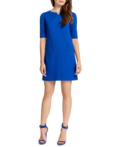 Nadya Half-Sleeve Shift Dress, Blue Marine