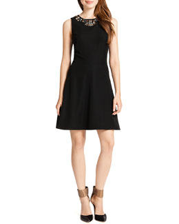 Cynthia Steffe Mallory Sleeveless Embellished-Neck Dress, Black/Multicolor
