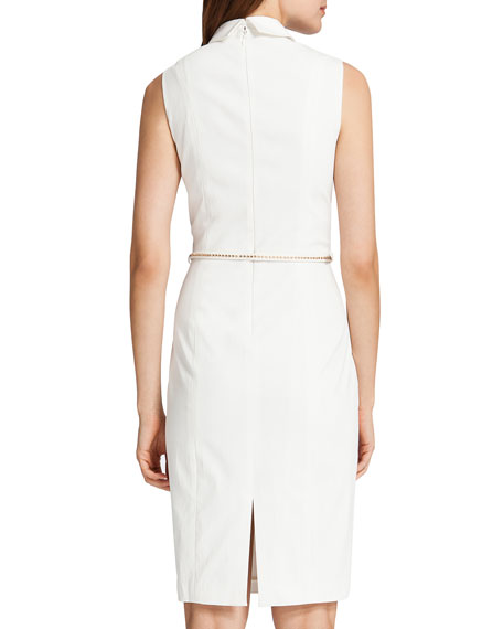 Chrissy Sleeveless Belted Shirtdress, Light Cream