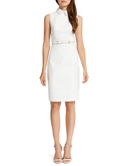 Cynthia Steffe Chrissy Sleeveless Belted Shirtdress, Light Cream