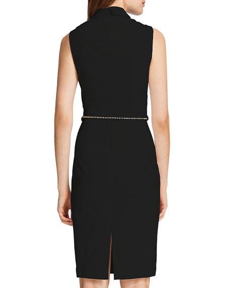 Chrissy Sleeveless Belted Shirtdress, Rich Black