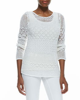 Neiman Marcus Novelty Stitch Sweater
