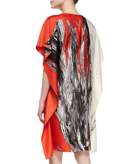Tinago-Print Short Caftan, Orange