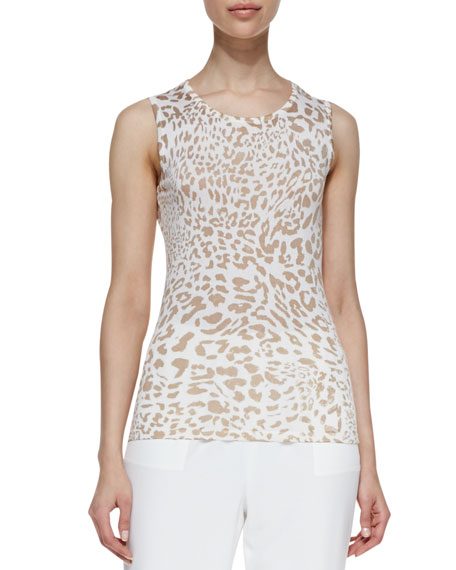 Animal-Print Silk/Cashmere Tank