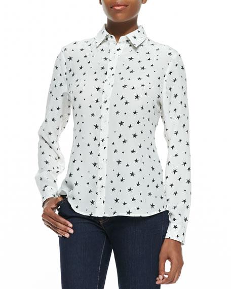 Star-Print Button-Front Shirt