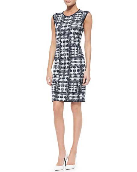 Jacquard Sheath Dress, Navy/White
