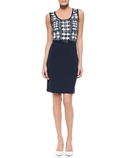 Carmen by Carmen Marc Valvo Jacquard Belted Sheath Dress