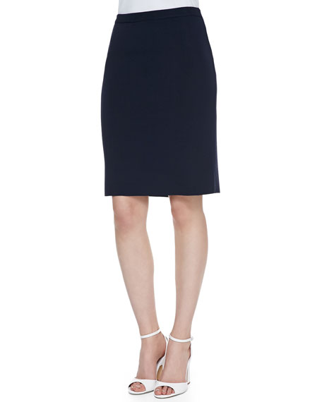Crepe Pencil Skirt, Navy