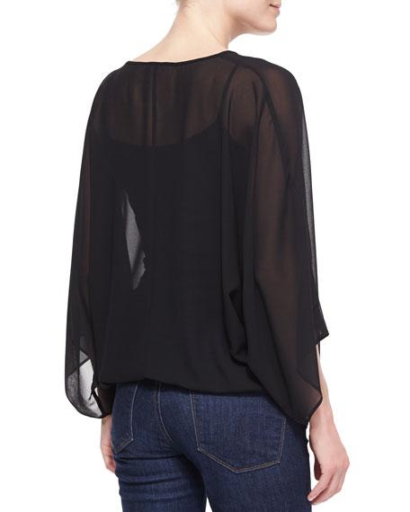 Dolman-Sleeve V-Neck Pullover TopWith Tassels