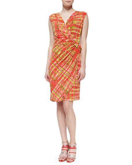 Habi Plaid Faux-Wrap Dress