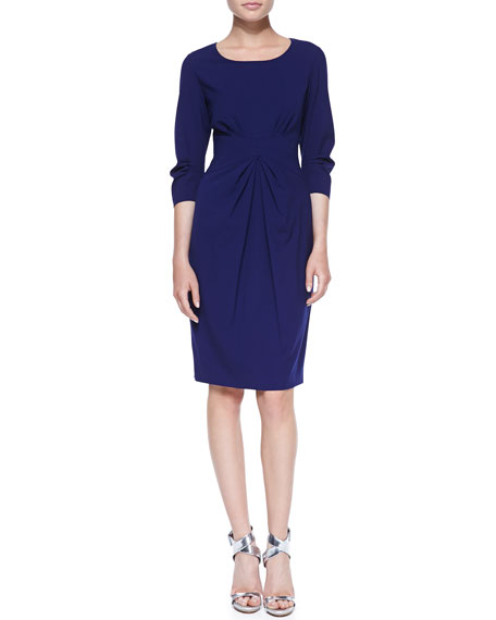 3/4-Sleeve Center-Pleated Sheath Dress