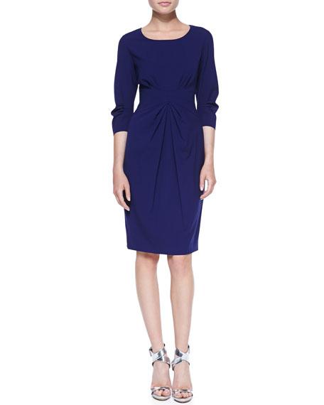 Lafayette 148 New York 3/4-Sleeve Center-Pleated Sheath Dress