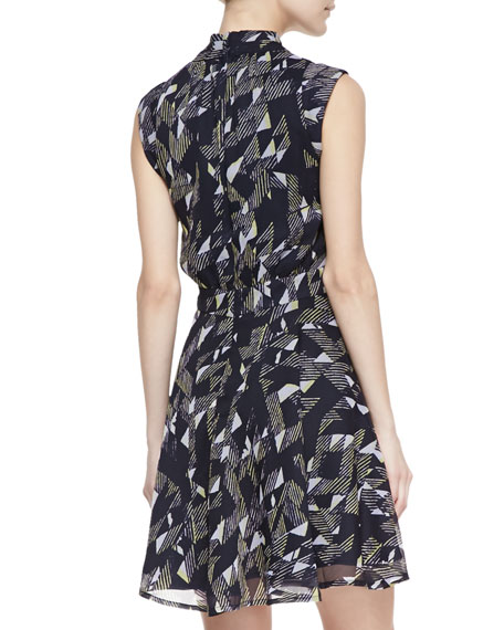 Geometric Beach Waves Print Dress, Utility Blue