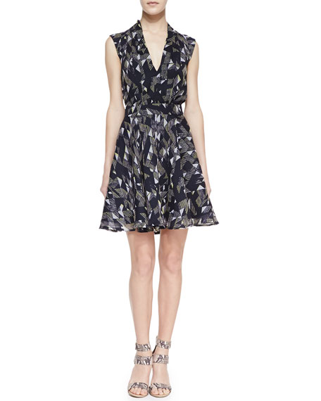 Geometric Beach Waves Print Dress, Utility Blue