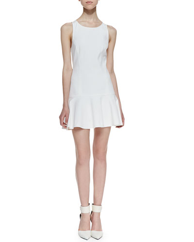 Addison Carmen Drop-Waist Fit-And-Flare Dress, White