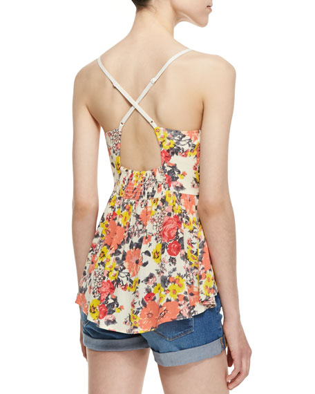 Some Like It Hot Floral Peekaboo Top, Swan Combo