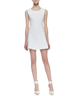 Free People Cha Cha Ponte Mini Dress, White