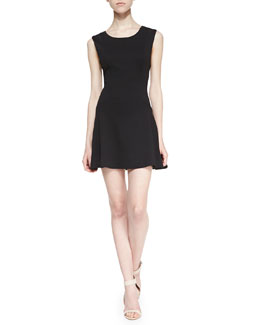 Free People Cha Cha Ponte Mini Dress, Black