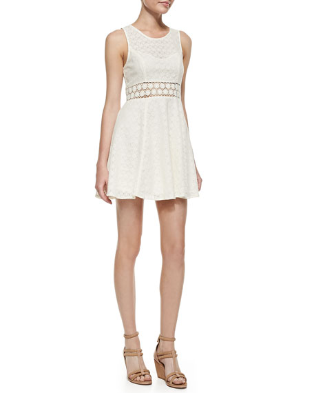 Daisy Waist Fit-And-Flare Dress, Ivory