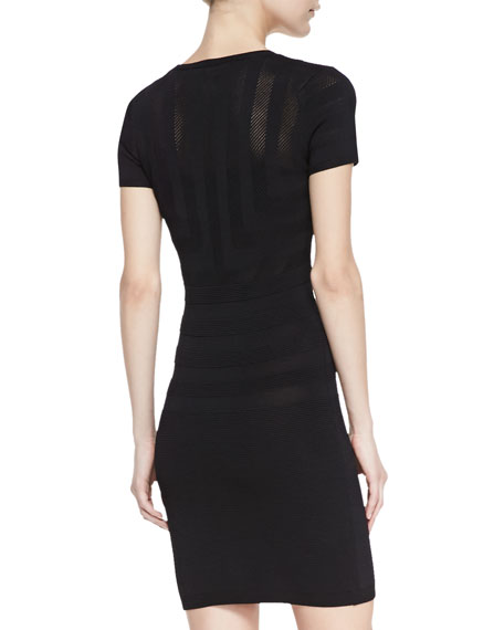 Montana Mesh Contrast Textured-Stripe Sheath Dress, Black