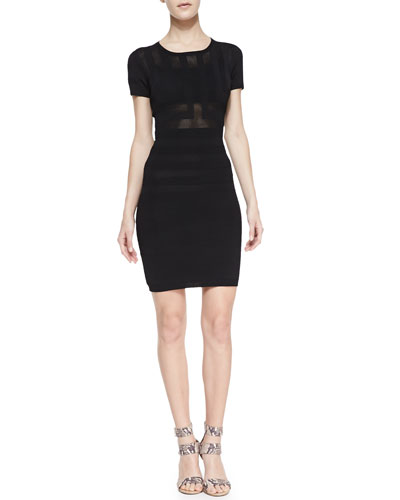 French Connection Montana Mesh Contrast Textured-Stripe Sheath Dress, Black