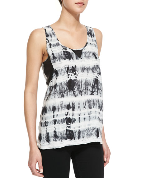 Jener Perforated Faux-Leather-Panel Tie Dye Tank, White/Black