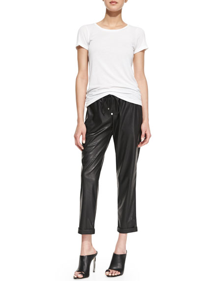 Amy Perforated Faux-Leather Drawstring Pants, Black