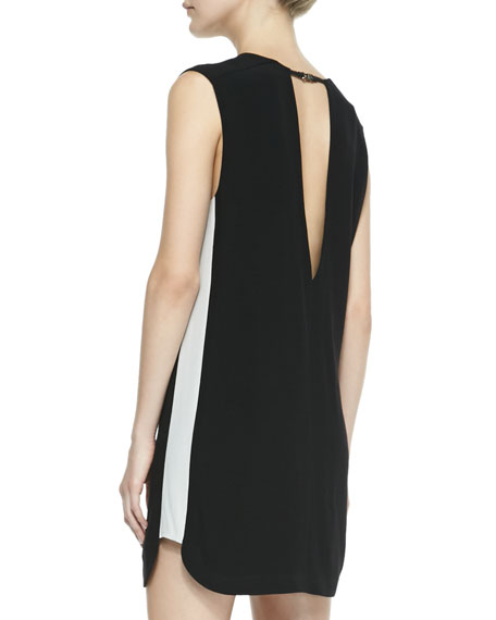 Britton Contrast Cutout Dress, Black/White