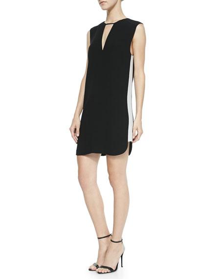 Britton Contrast Cutout Dress, Black/White