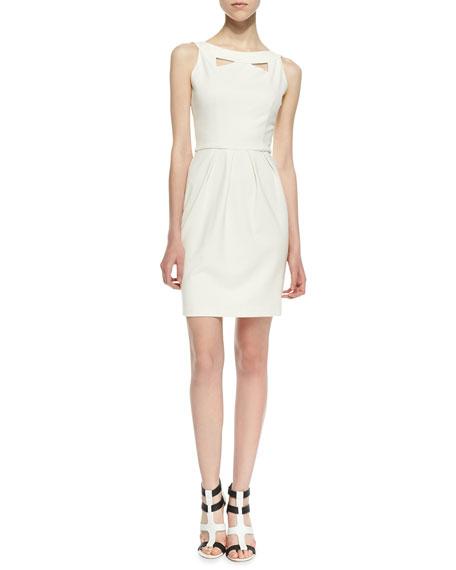 Cutout Pleated Ponte Dress, Ivory