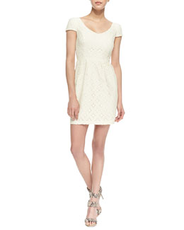 Amanda Uprichard Loves Cusp Cap-Sleeve Floral Lace Dress, Ivory