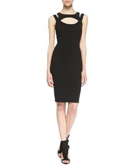 Charlie Jade Elva Cutout Sheath Dress, Black