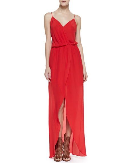 Draped Tulip Silk Maxi Dress, Red