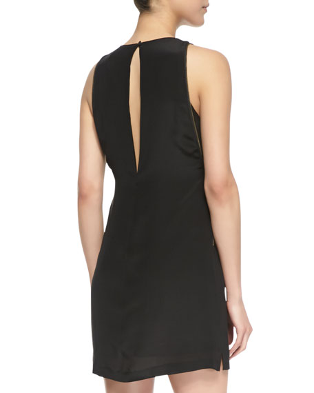Zipper Embellished Crepe De Chine Dress, Black