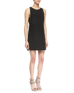 Cusp by Neiman Marcus Zipper Embellished Crepe De Chine Dress, Black