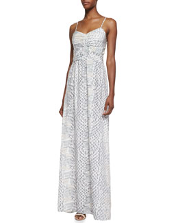Parker Beverly Ruched-Front Python Print Maxi Dress