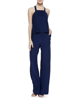 Parker Roan Open-Back Halter Jumpsuit, Oxford Navy