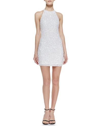 Parker Audrey Beaded Sheath Dress, White