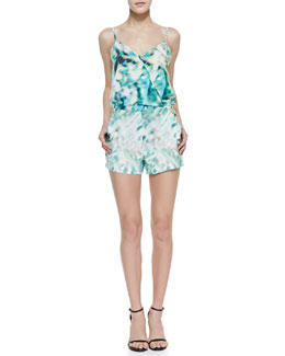 Parker Harrison Rain Print Cross-Front Jump Suit, Meadow Green