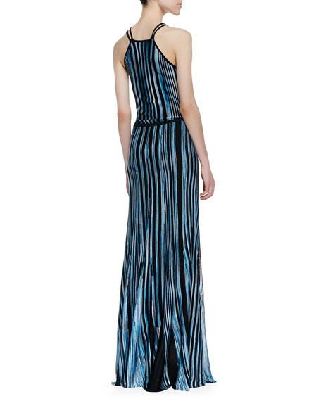 Dory Striped Knit Maxi Dress, Cyan