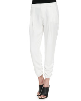 Parker Devlin Ruched Ankle Pants, White