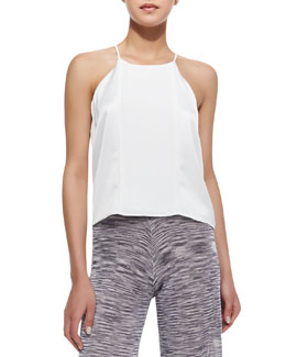 Parker Sutter Satin Keyhole-Back Top, White