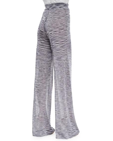 Hera Slub Knit Wide-Leg Pants, Dove Gray